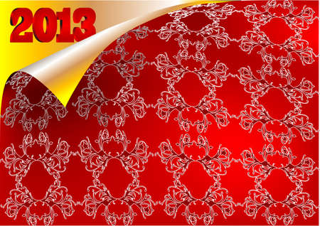2013 chritmas background. scroll pattern and silk Stock Vector - 16555292