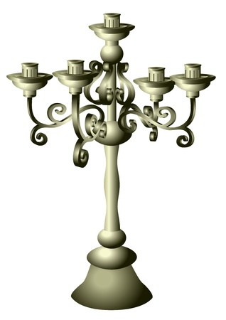 candelabrum: silver candelabrum isolated on the white background Illustration