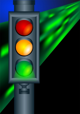 night road: traffic lights on night road