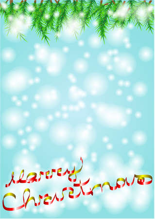 christmas background with ribbons in the form of inscriptions  Stock Vector - 16676184