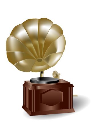 antique gramophone isolated on the white background Stock Vector - 16761433