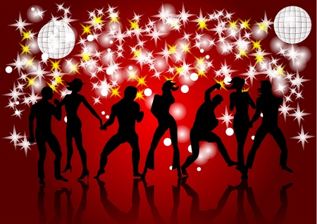 Disco  Silhouettes of dancing people and light Stock Vector - 16815670