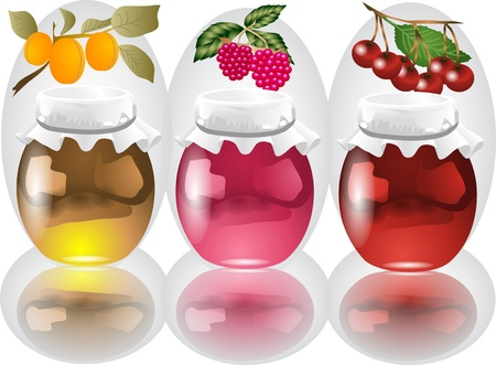 3 jars with apricot, raspberry, cherry jam Stock Vector - 16815672