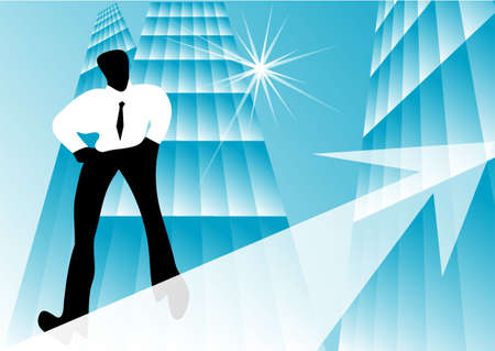 concept of business growth  rope walker and graphic