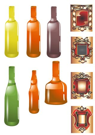 bottle and label isolated on white background Stock Vector - 16815673