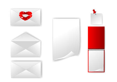 set of envelope and paper isolated on white Stock Vector - 16855049