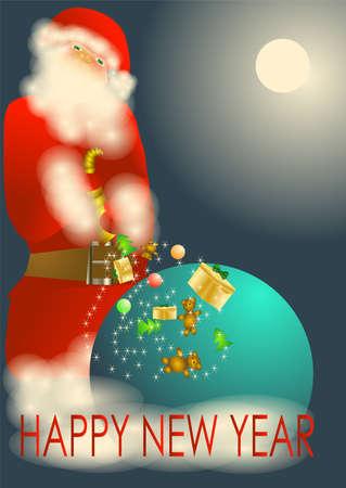 Happy New Year  Christmas horn of Plenty with Santa Claus Stock Vector - 16855048