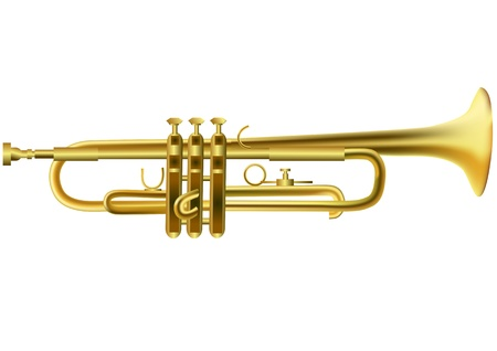 trumpet isolated on the white  10 EPS