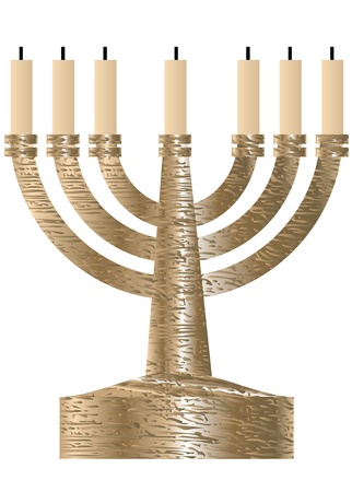 Menorah  Seven branched candlestick isolated on white Stock Vector - 16886034