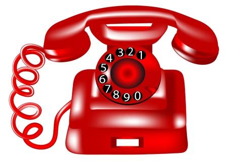 白の背景に分離したロータリー ・ ダイヤル電話