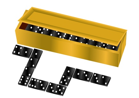 domino  box with dice isolated on white background Stock Vector - 16911440