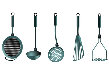 kitchen utensils isolated on the white background Vector