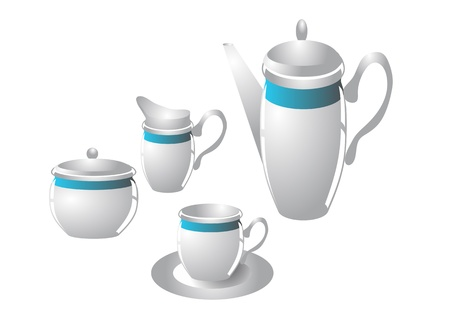 creamer: coffee service  sugar bowl, creamer, coffee pot and cup