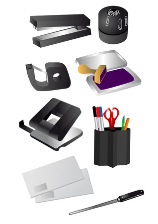 backgrouns: office supplies isolated on the white backgrouns