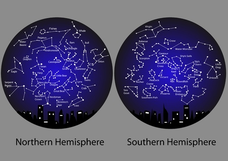 constellations of the northern and southern hemisphere Vector