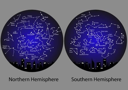 costellazioni: costellazioni dell'emisfero settentrionale e meridionale Vettoriali