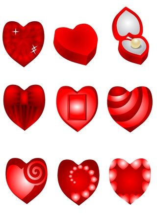 set of red hearts for Valentines Day Vector