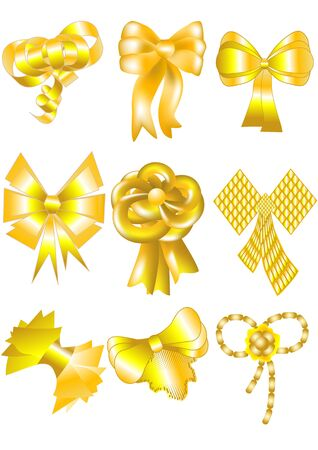 set of unusual gold bows isolated on white