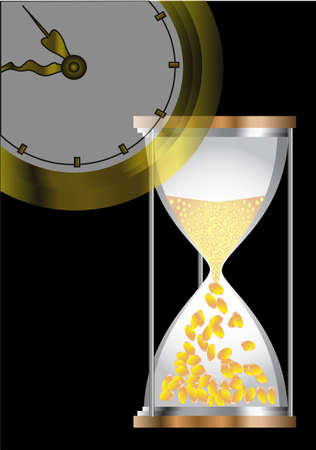 time concepts with hourglass, coins  and clock Stock Vector - 17013140