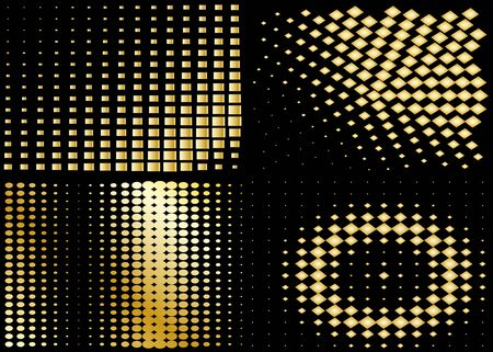 halftone backgrounds set collection isolated on black