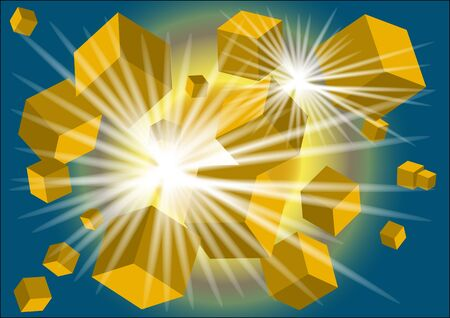 abstract background with gold light and cubes Stock Vector - 17013144