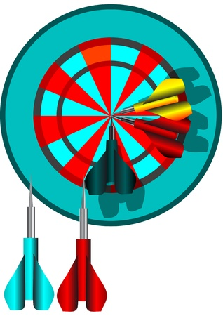 darts, dart and dartboard isolated on white Stock Vector - 17013146