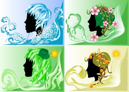 season: silhouette of four women representing seasons of the year Illustration