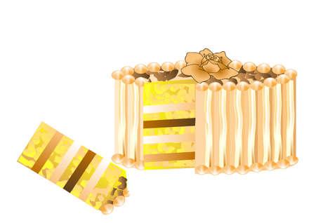 wedding reception decoration: festive cake with rose isolated on white background