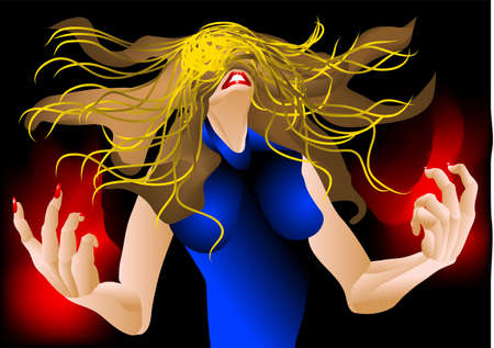 rage: woman in a rage with hair flying in the air