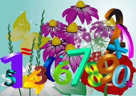 abloom: fondo abstracto con las flores y los n�meros Vectores
