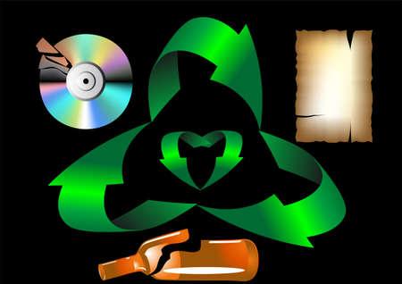 simbol: riciclaggio dei rifiuti stilizzato riciclaggio simbol, carta, plasic, vetro