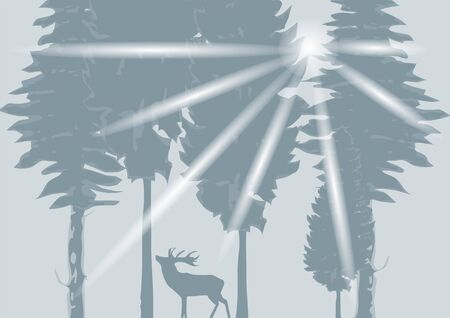silhouette of a deer in the gray wood Stock Vector - 17325545