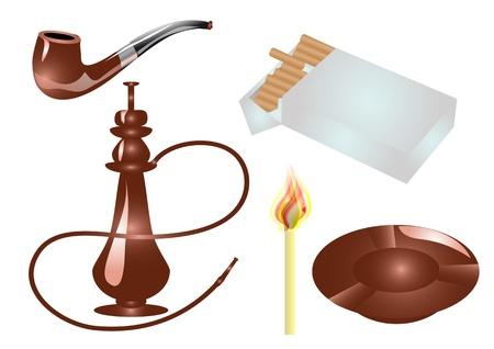 ashtray: smoking accessories  cigarettes, hookah, pipe, ashtray, match