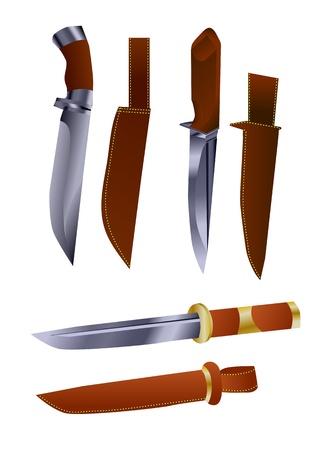 cutting blade: Cuchillos de caza con vaina aislados en blanco