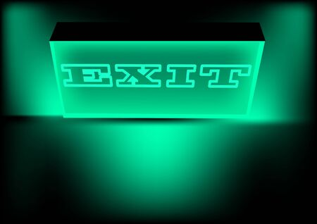 illuminated exit sign in a dark room Vector
