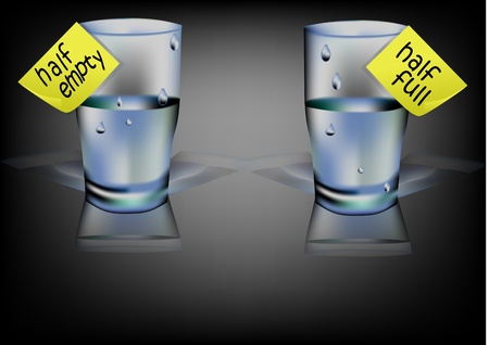 full: vaso de agua con la mitad de inscripci�n completo, medio vac�o