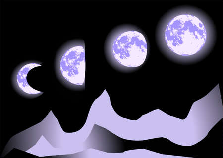 phases: phases of the moon on night sky