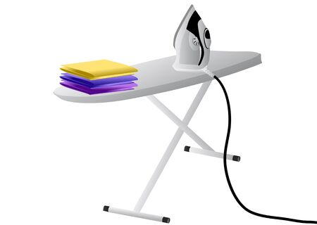 ironing board: iron and ironing board isolated on white Illustration