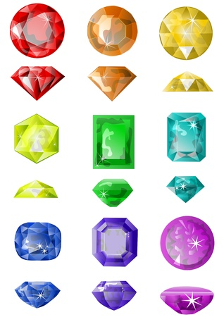 set of precious stones isolated on white Vector