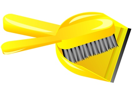 brush and dustpan isolated on white background Stock Vector - 17651688