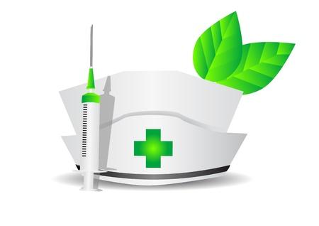 environmental medicine  medical cap, syringe, leaves isolated on white Stock Vector - 17651689