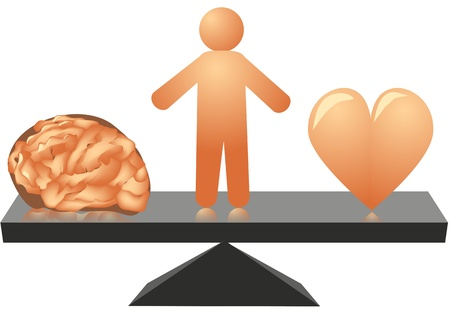 choice between heart and mind   Vector