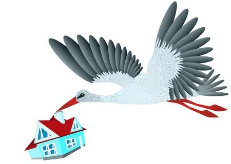 Stork brings house  Conceptual design in 10 EPS Stock Vector - 17778815