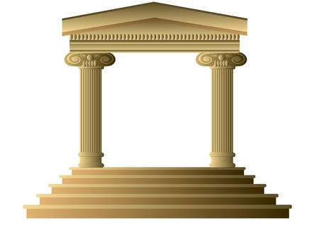 Ancient columns  Abstract building Exterior with Ionic Columns Vector