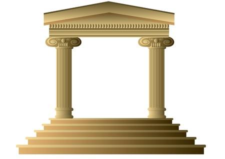 colonna romana: Colonne antiche costruzione astratta esterno con colonne ioniche Vettoriali