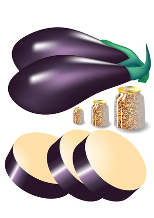 canned food: eggplant and jars of canned food isolated on white Illustration
