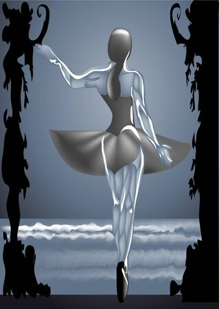 Ballet dancer on stage Swan Lake  10 EPS Vector