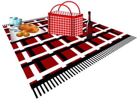 pane e vino: sacchetto di picnic, tovagliolo, pane, vino, occhiali, uova sul plaid Vettoriali