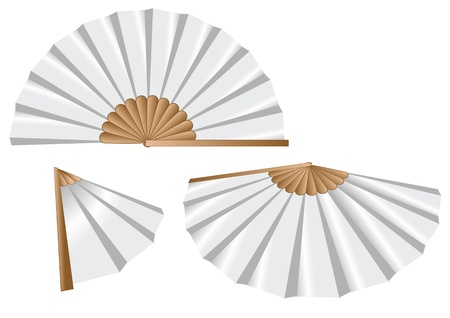 chinese fan: white fan isolated on the white background