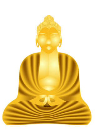 statue of golden Buddha isolated on white Stock Vector - 17937047